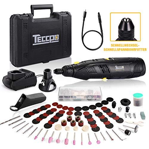 Akku Multifunktionswerkzeug, TECCPO 12V akku Drehwerkzeug, 6 variable Drehzahlen von 5000 bis 28000 U/min, 80 Zubehör, Flex Welle, Schnellspannbohrfutter, 2.0 Ah Li-lon Akku, Leicht zu transportieren