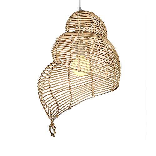 E27 hanglamp hanglamp van Header bamboe en rotan landelijke stijl hanglamp Conch vorm binnenverlichting hanger licht voor slaapkamer eetkamer eettafel gang hal, ø 35 cm lichtkleur