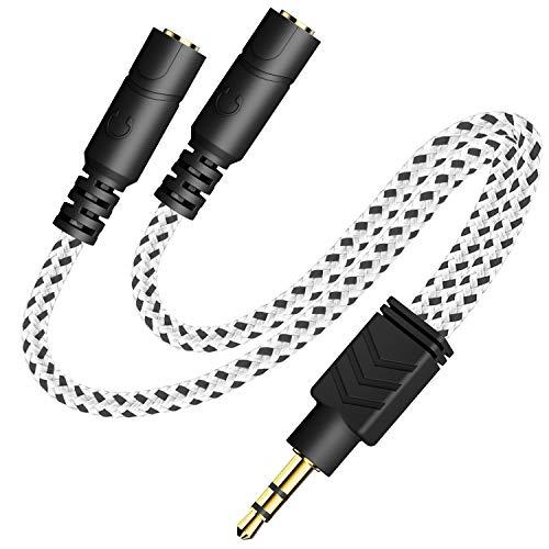 Headphone Splitter, DUKABEL Knitted 3.5mm Audio Splitter TRS 3-Pole Aux Splitter Cable for Headphones Earphones Speakers -Zebra White