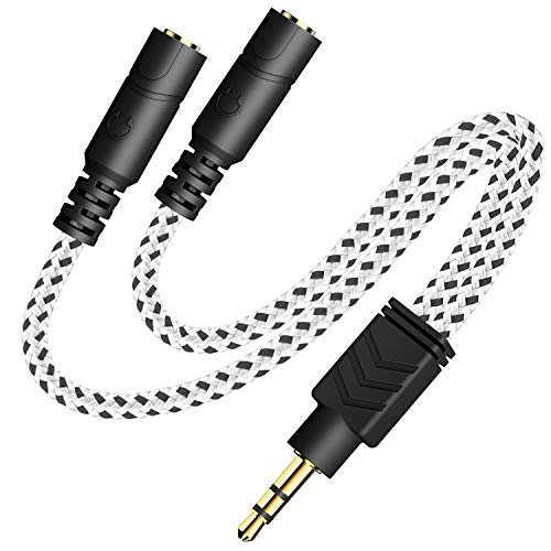 Headphone Splitter, Knitted 3.5mm Audio Splitter TRS 3-Pole Splitter Cable for Headphones Earphones Speakers -DuKabel (Zebra White)
