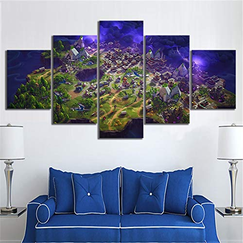 5 Stuk Muur Kunst Stickers Muurschildering Fortnite Battle Royale Map Video Game Poster Voor Afbeeldingen Nite Landschap Muur Kunst Huiskamer Decor,B,20x35x2+20x45x2+20x55x1