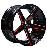 Marquee MQ 3226 – 20 Inch Staggered Rims – Set of 4 Black and Red Wheels – Sports Racing Cars – Fits Challenger, Charger, Mustang, Camaro, Cadillac and More (20x9 / 20x10.5) – Car Rim Wheel Rines