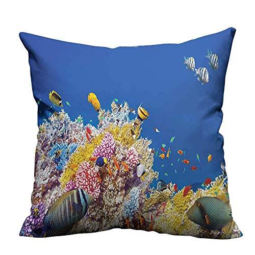 N\A Decoración del hogar Fundas de Cojines Mundo Submarino Colorido con corales y Peces Tropicales Buceo exótico Destino de Viaje B Decorativo para niños Adultos (Impresión a Doble Cara)
