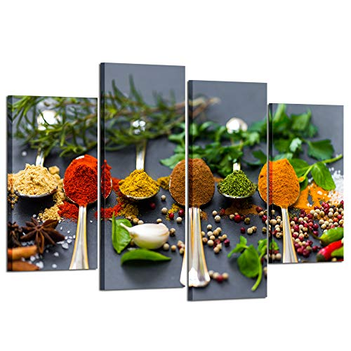 Kreative Arts 4 Panel Kitchen Pictures Wall Decor Colorful Spice in Spoon Vintage Canvas Wall Art Food Photos Painting On Canvas Stretched Framed Home Decoration Gift Ready to Hang