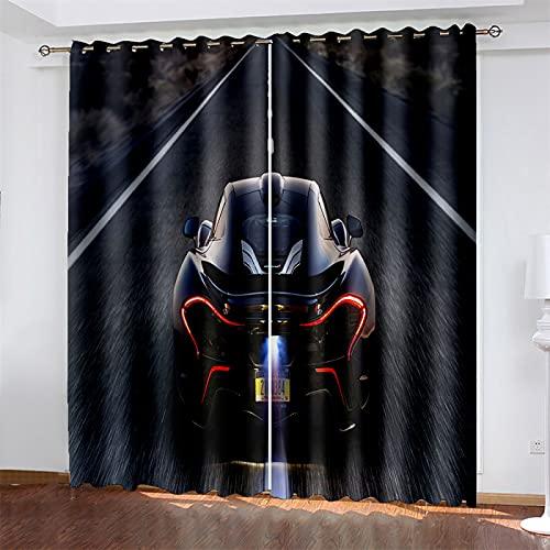 HOMEIEU Cortinas Opacas, Cortinas De Reducción De Ruido De Automóviles Deportivos 3D, Adecuadas para Habitaciones De Niños, Sala De Estar Y Dormitorio 2Pcs (W140xH260cm-2PCS)