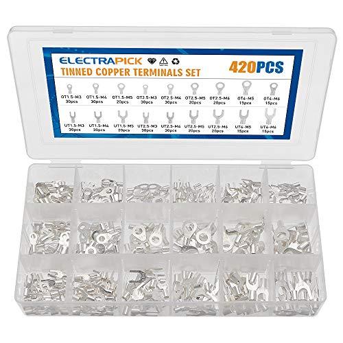 electrapick Kabelschuhe Set 420stk Quetschverbinder Kupfer Versilbert Ringkableschuhe und Gabelkabelschuhe, M3/M4/M5/M6, 1,5mm²/2,5mm²/4mm²