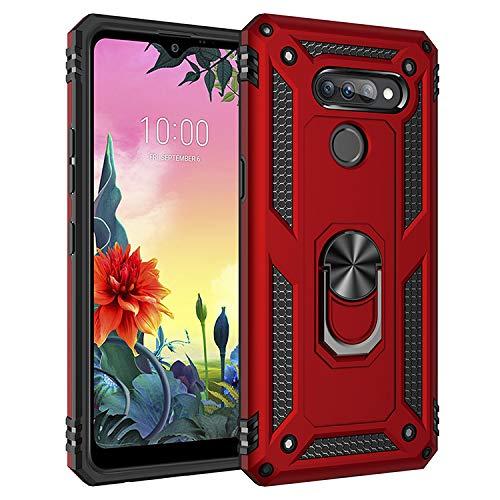 BestST LG K50S Hülle, für LG K50S Schutzhülle + Bildschirmschutz 360 Grad Drehbar Ringhalter mit Magnetischer Handyhalter Auto Handy hülle- Rot