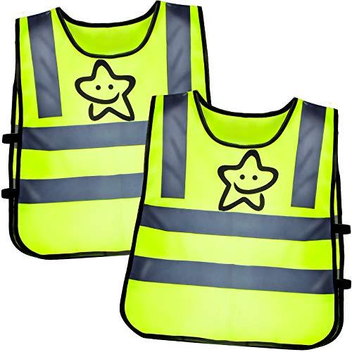 2er Warnweste Kinder Sicherheitsweste Reflektorweste Running Fahrrad Warnweste Jungs Mädchen Leicht Elastisch Laufweste zur Schule Gehen und Abspielen Reflektierende Weste