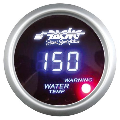 Simoni Racing WT/D Digitalen Wassertemperaturanzeige mit Sensoren, Blau Retro Lighted, White Face