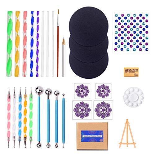 TCM-KE Kit de herramientas de punteado de mandala, juego de plantillas de pintura de punto de roca, arte de lienzo, pincel para arte de uñas, arte de cerámica, acuarela, gouache, pintura al óleo.