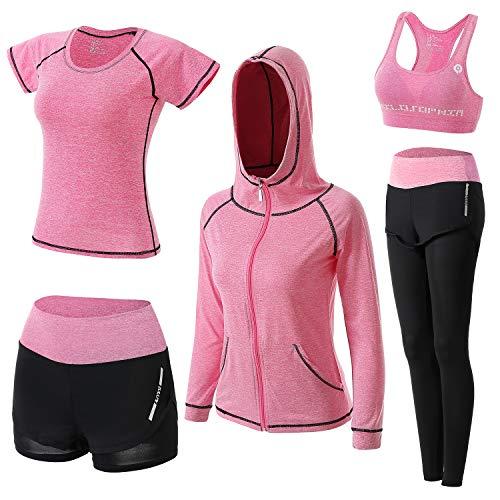 BOTRE Damen Traingsanzug Yoga Kleidung Anzug 5er-Set Sportanzüge Jogginganzug Gym Fitness Kleidung Laufbekleidung Sportswear Sport Yoga Outfit Damen BH Leggings Set (Rosa, Medium)