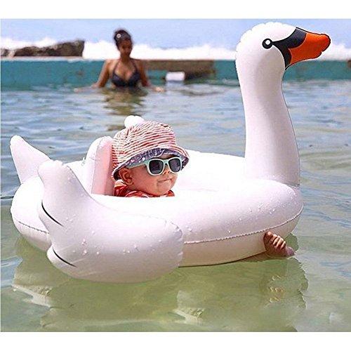 Kompassswc Baby Kleinkinder Schwimmreifen Schwimmsitz Pool Kinderboot Aufblasbarer Schwimmring Cartoon Schwimmhilfe für Kindern 4 bis 48 Monaten (Weiß Schwan)