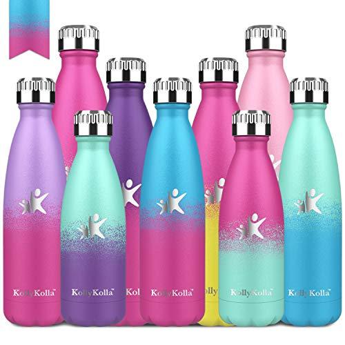 KollyKolla Trinkflasche Edelstahl, 650ml BPA Frei Vakuum Isolierte Auslaufsicher Wasserflasche, Thermosflasche für Sport, Outdoor, Fitness, Kinder, Schule, Kleinkinder, Blau & Barbie Rosa
