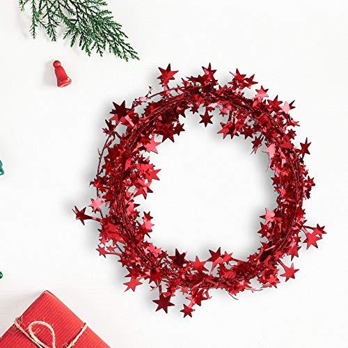 Hunpta@ 7,5 m Star Lametta Weihnachtsdekoration, 1/6 Stück Multifunktionen Lametta Weihnachtsbaum Kränzen Garland Weihnachtskränzen Deko Hochzeiten Festivals Partys Dekoration (Rot)