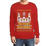 Shirtgeil Maglione Brutto di Natale per Lui - Go Jesus It's Your Birthday Felpa da Uomo Small Rosso