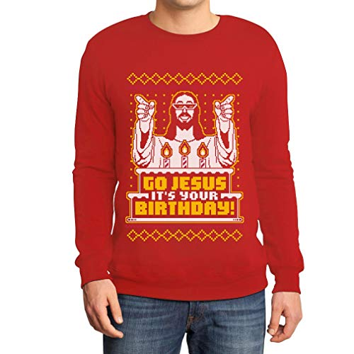 Shirtgeil Maglione Brutto di Natale per Lui - Go Jesus It's Your Birthday Felpa da Uomo X-Large Rosso