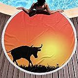 Aubrdon Serviette de Plage, Couverture de Plage Ronde, Silhouette de Taureau sur Coucher de Soleil Vecteur Pique-Nique Couverture 150 cm Serviette de Plage Douce