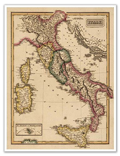 Antiguos Maps - Elegant Map of Italy Circa 1822 - Measures 18 in x 24 in (457 mm x 610 mm)