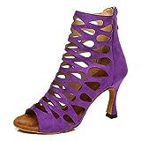 YKXLM Zapatos de Baile Latino Mujer Sal├│n De Baile Tango Cha-Cha Salsa Tacon Alto Botas de Baile,Modelo YCL455,Morado-7.5CM Heel-39 EU
