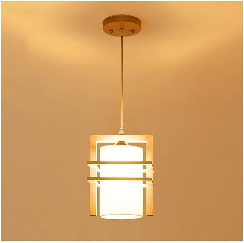 RRC-Lustre Suspension Lumière Simple Bois Art Tissu Ombre Salon Décor Plafond Lampe Chambre à Manger Table Café Restaurant Lustre [Classe énergétique A ++] (Couleur   Warm lumière-1 head)