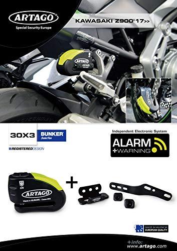 Artago 30X3 Antirrobo Disco Alarma 120Db Alta Gama Y Soporte Kawasaki Z900