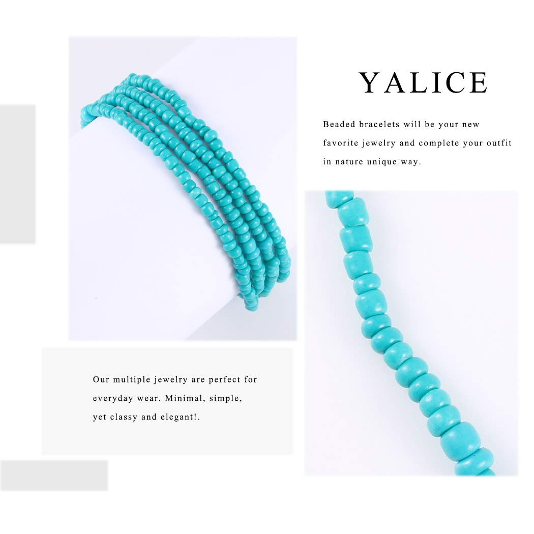 Yalice Beaded Bracelet Beads Wrap Hand Chains Boho Beach Anklet Waist Jewelry for Women and Girls (Green)