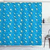 ABAKUHAUS Kinder Duschvorhang, Feen in den Himmel, Wasser Blickdicht inkl.12 Ringe Langhaltig Bakterie & Schimmel Resistent, 175x240 cm, Azure Blau Multicolor