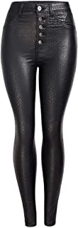 LUKEEXIN Women's Retro Pu Leather Button Leggings Pants