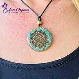 Orgonite Necklace, Protection EMF, Symbol Flower of Life, Sacred Geometry, with Turquoise, Rolled Quartz Wellness, Reiki, Yoga, Meditation, Handmade, Arte Orgones