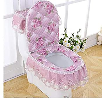 WSHINE Velvet Embroidery Lace Toilet Mat Toilet Seat Cover/Lid Cover/Tank Cover Set Set of 3  Floral Purple