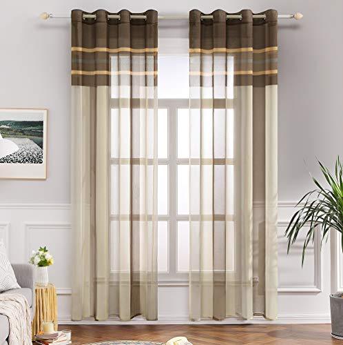MIULEE Voile Vorhang Transparente Gardine aus Voile mit Ösen Schlaufenschal Ösenschals Transparent Fensterschal Wohnzimmer Schlafzimmer 2er Set 140x145 cm Weiß + Hellbraun