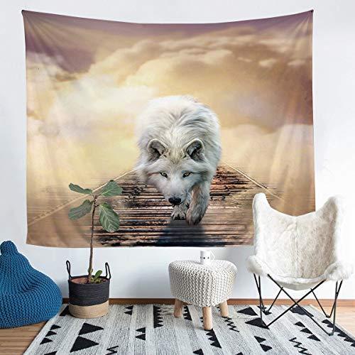 Manta de pared de lobo 3D para niños y adolescentes Safari Animal Print Tapices para colgar en la pared, estilo de vida silvestre, tapiz con patrón de animales salvajes, manta de cama, decoración de la habitación, tamaño mediano 51 x 59