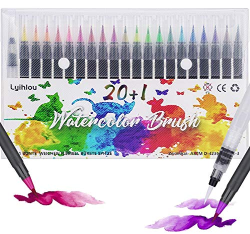 Watercolor Brush Pen Set, Wasserfarben Pinselstifte 20+1, Aquarell Pinsel Marker Stifte 100% ungiftig Geruchlos für Erwachsene Malbücher, Manga, Comic, Kalligraphie (20+1 Farben)