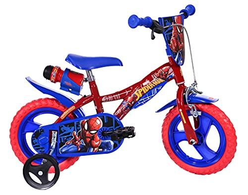 Dino Bikes Bicicletta Spiderman bambini di 3 ai 5 anni. Gamma di altezza del bambino 87 - 120 cm, Rosso/Blu