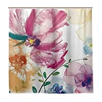 KAPANOU防水 シャワーカーテン 水彩花のカラフルな絵画アート花葉 かわいいシャワーカーテン ユニットバス バスルーム 芸術の装飾 180cmx180cm バスフック付き 取り付け簡単