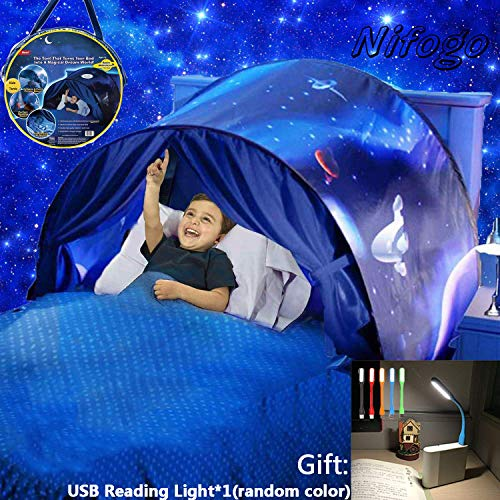 Nifogo Bed Tents for Boys Girls Kids Pop Up Tents with Light, Play Tent Bedroom Festival Decoration Tent, Christmas Birthday Gifts (b- Space)