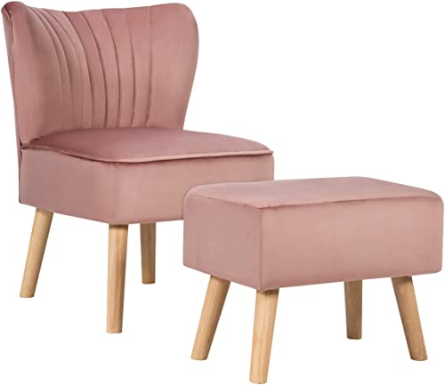 discount Giantex Velvet Accent Chair with Ottoman, Modern Tufted lowest Upholstered Chair with Footrest, Firm Wood Legs, Leisure Single Club Chair Set for Living Reading Room Bedroom high quality (Pink) online sale