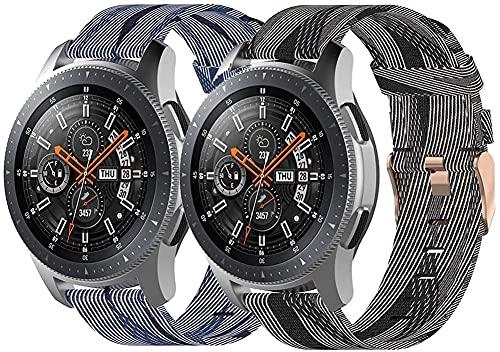 Correas para Relojes Nylon Compatible con Galaxy Watch 42mm / Watch 3 41mm / Watch Active, Correa de Reloj de NATO para Mujer y Hombre con Hebilla de Acero Inoxidable (20mm, Pattern 4+Pattern 8)