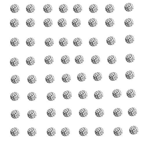 kowaku 100 Piezas de Bolas Redondas de Cristal de Diamantes de Imitación de Arcilla para Hacer Joyas de Plata - tal como se describe, 10mm