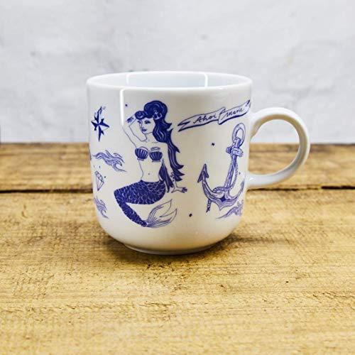 Kaffeebecher Alte Seefahrer Tattoo Motive - Maritime Porzellan-Tasse original aus dem Norden