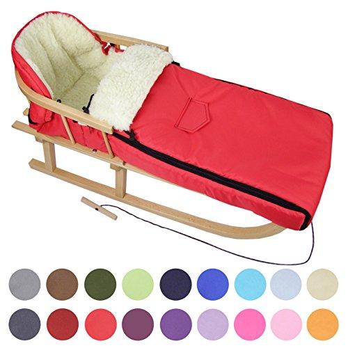 BambiniWelt24 BAMBINIWELT Kombi-Angebot Holz-Schlitten mit Rückenlehne & Zugseil + universaler Winterfußsack (90cm), auch geeignet für Babyschale, Kinderwagen, Buggy, aus Wolle Uni (Rot)