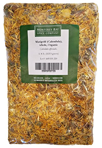 ORGANIC WHOLE CALENDULA FLOWERS 4 OZ Bag (Marigold) - USDA CERTIFIED 100% ORGANIC and KOSHER - Herbal Tea (Calendula Officinalis), Caffeine Free Irradiation Free Bulk Bag