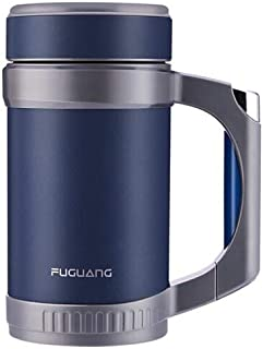 XIMINGJIA Fuguang, Men And Women, Business Water Cup, With Handle, With Filter, Tea Cup, 304 Vacuum Stainless Steel, Office, Thermos, Insulation Pot, 500ML Blue Insulated coffee cup (Color : White)