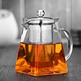 Warmyee Hofu Small Clear High Borosilicate Glass Tea Pot with Removable 304 Stainless Steel Infuser, Heat Resistant Loose Leaf Teapot,Stovetop Safe (750 ml/25.3 Ounce)