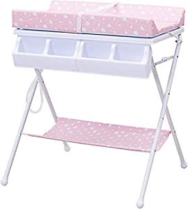 ZGYQGOO Baby Changing Table Foldable Changing Pad Covers Baby Care Bed Massage Table Bathing Station Touching Crib Diaper Table