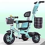 AUTOKS Triciclo de Empuje 2 en 1 con manija para Padres y Triciclo Kids Forst - Diseño Brillante y Colorido con diseño Seguro - Edades de 11 Meses en adelante