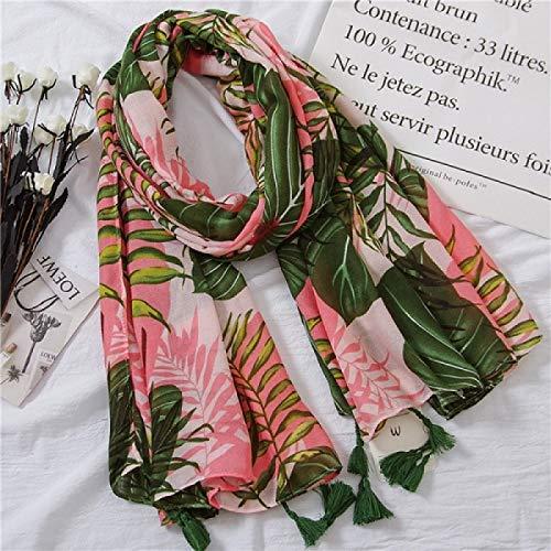 WSXQAZ Bufanda con Estampado Tropical Bufandas Étnicas Verano Playa Silenciador Hojas Verdes Planta Bufanda Mujeres Árbol De Coco Bufandas para Mujer