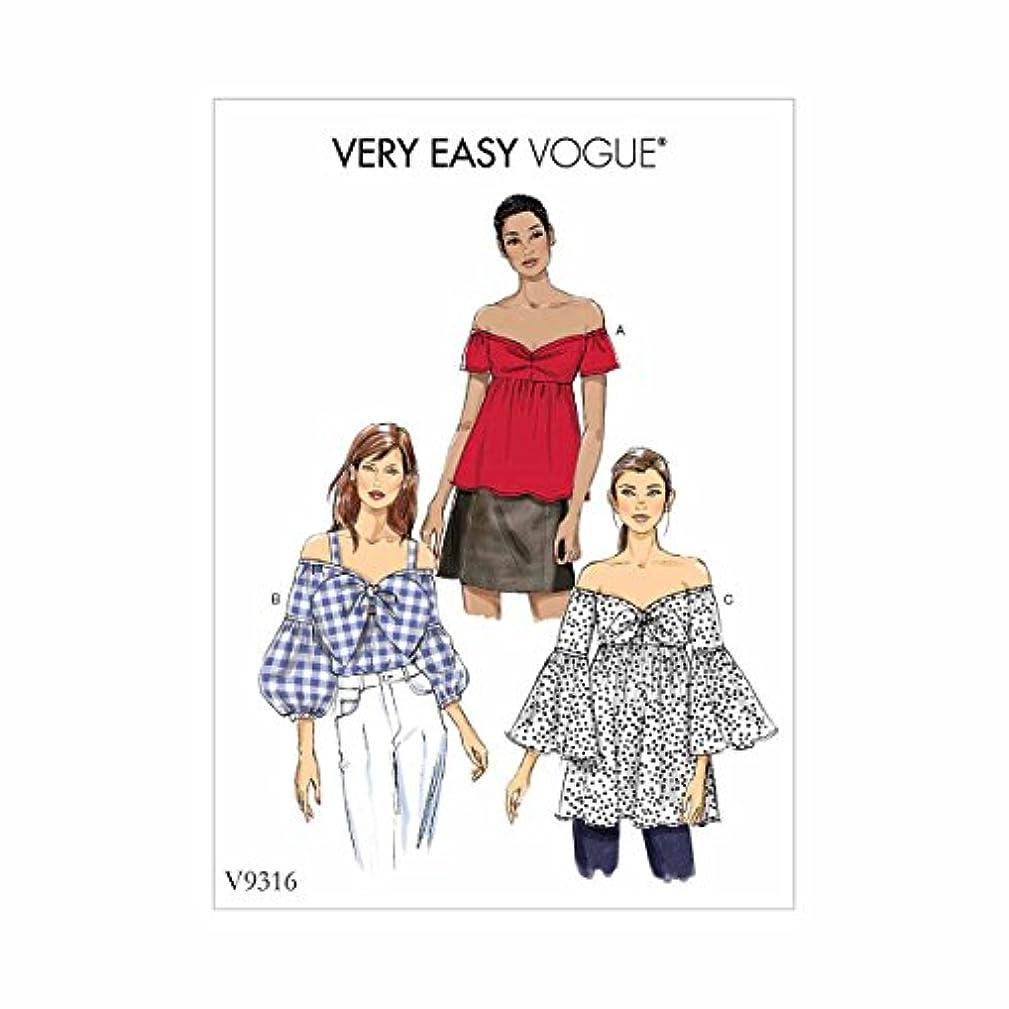 Vogue Patterns V9316E50 Misses' Top 14-16-18-20-22 red