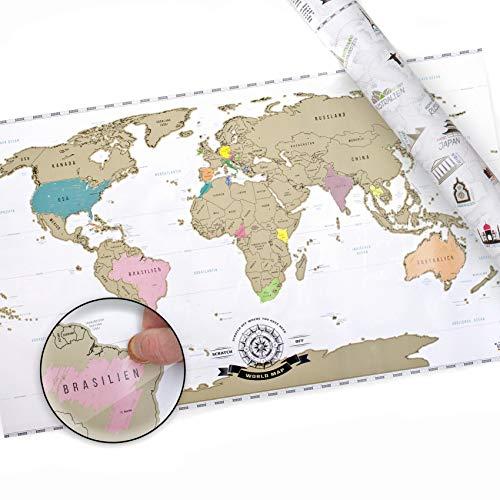 *Scrape Off World Map XXL – Weltkarte zum Rubbeln – Rubbel Landkarte Deluxe Poster*