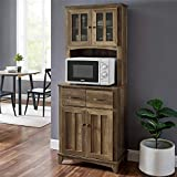 Home Source Microwave Storage Stand with Double Door Top and Bottom Cabinets in Reclaimed Barn Wood...